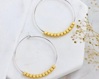Matte Gold Beaded Hoop Earrings - Silver
