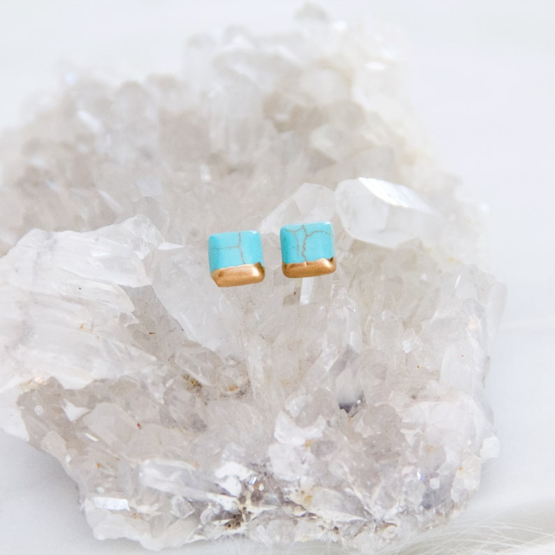 d2fd18ace Square Turquoise Hand Gilded Tiny Post Earrings Square   Etsy