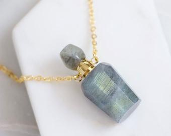 Labradorite Perfume Bottle Necklace