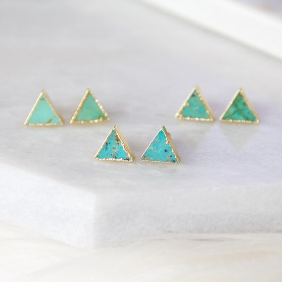 a86394cbc Turquoise Earrings Triangle Gold Stud Earrings   Etsy