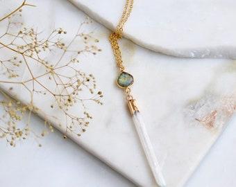 Labradorite and Selenite Long Necklace