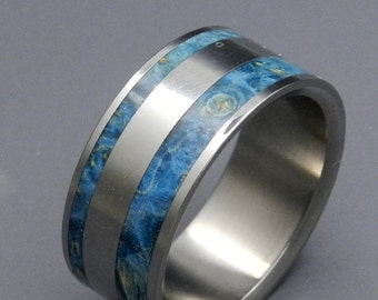 wedding rings, titanium rings, wood rings, mens rings, Titanium Wedding Bands, Eco-Friendly Wedding Rings, Wedding Rings - KIND OF BLUE