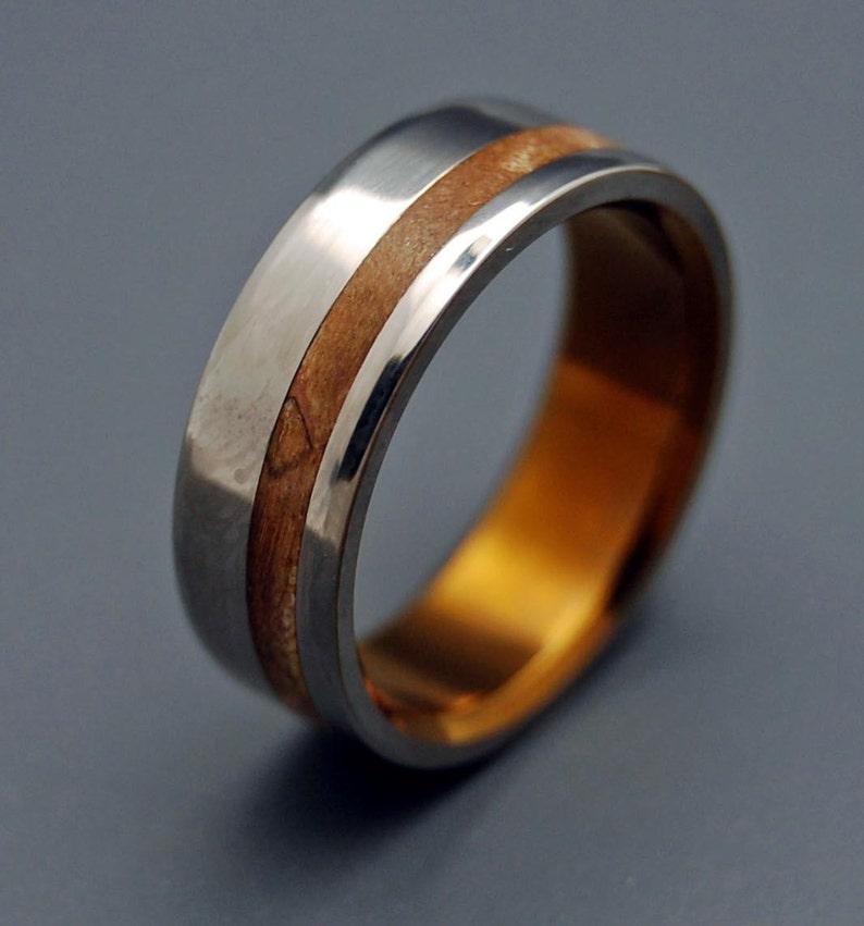Titanium Wedding Ring Wooden Wedding Rings mens ring womens image 0