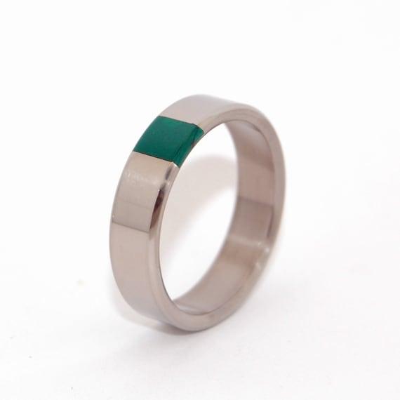 Titanium And Jade Wedding Band Mens Ring Womens Ring Unique Etsy