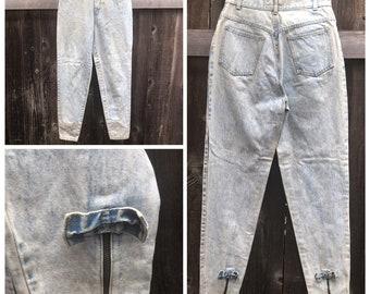 c709e5c00 Cute Vtg 80's Acid Wash Denim Jeans Ankle Bows and Zippers size 7/8 High  Waist