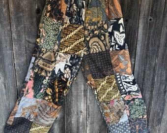 Vintage Black Bali Cotton Resort Crochet Lace Indonesian Bohemian Pants s