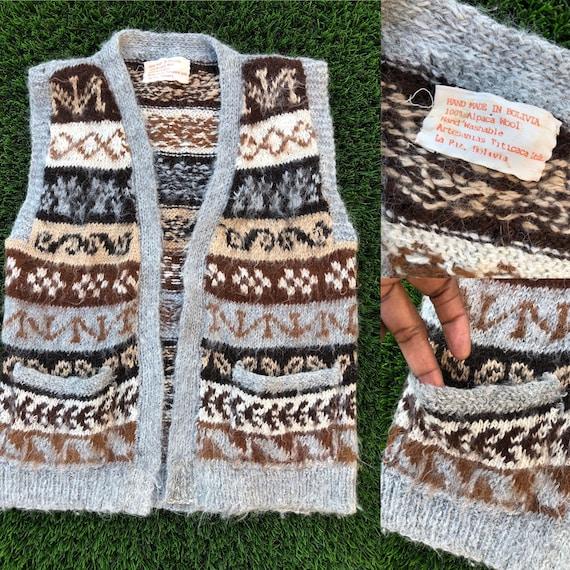 Vintage Alpaca Vest / 90's Wool Vest / Bolivian Ve