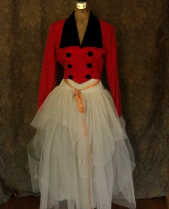 Vintage Handmade Waistcoat / Steampunk / Red & Bla
