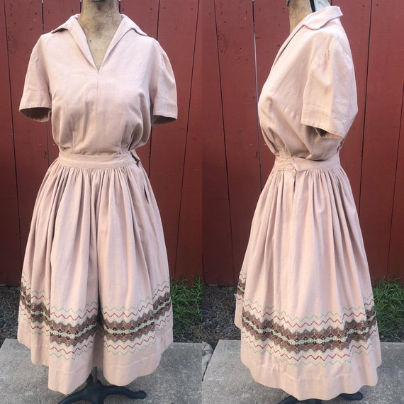 Vintage Patio Outfit / Skirt Set / Dress / Mexican