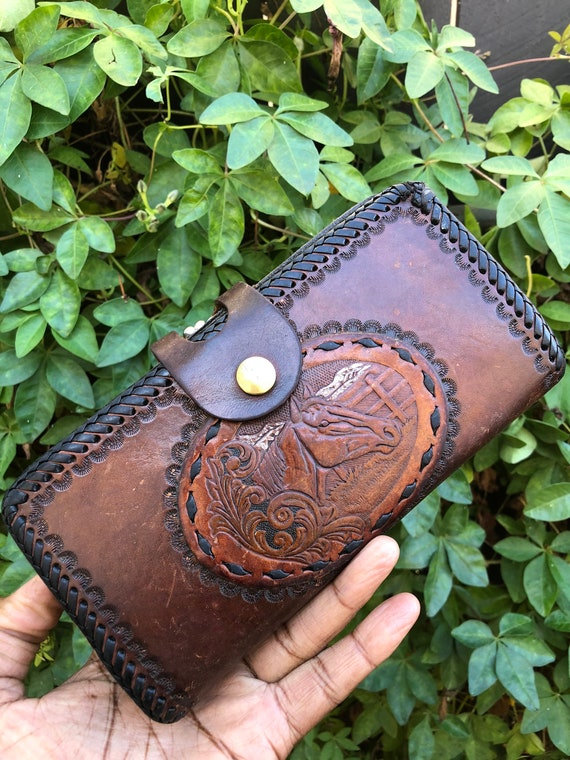 Vintage Tooled Leather Wallet / 70's Leather Walle