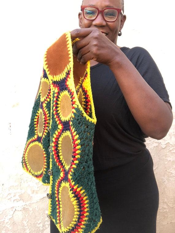 Vintage 70's Crochet Vest / Charlie's Girls Vest … - image 4