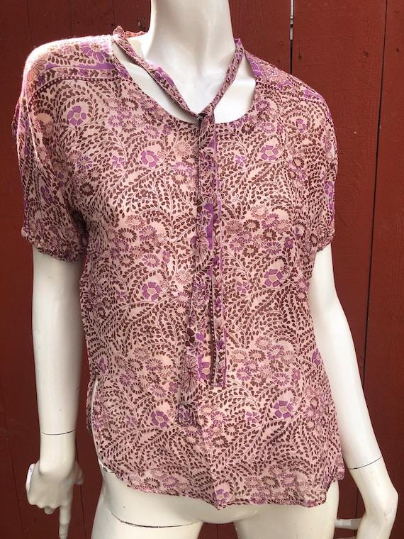 70's Deadstock Cotton Gauze Blouse Hippie Blouse R