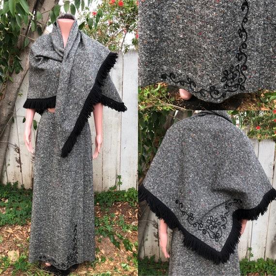 Vintage EMCAR Wool Skirt & Shawl / Maxi Skirts /Wo