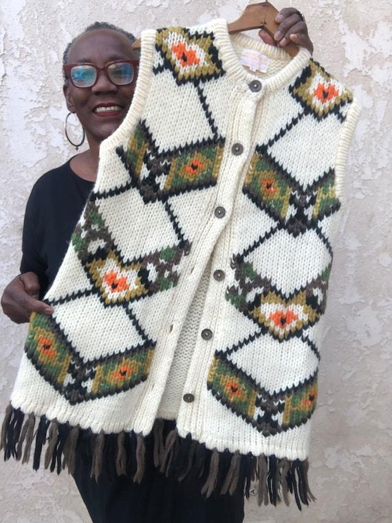 Hand Knit Hippie Fringe Vest / Boho Knit Vest / Kn