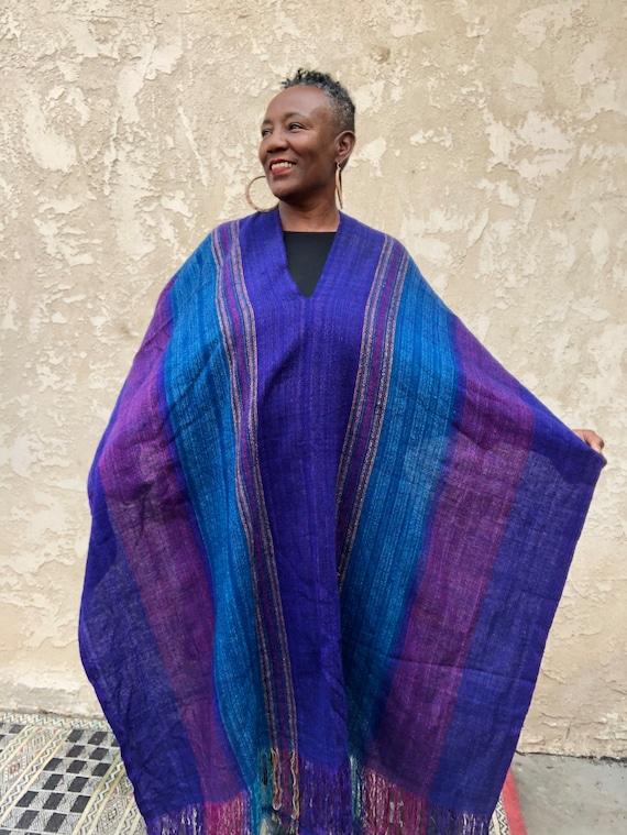 Wool Hippie Poncho / Purple Boho Poncho / Fringe P