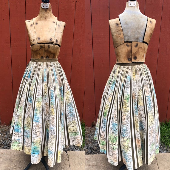 Vintage Mexican Skirt / Hand Painted Circle Skirt