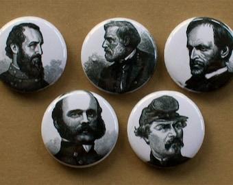 Civil War Generals- Pinback buttons