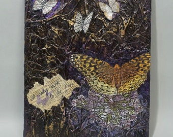 Butterflies Are Free Mixed Media Canvas Art Allium Northwoods OOAK