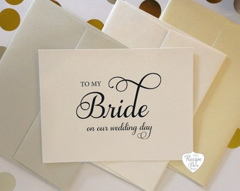 to my bride to my groom on our wedding day wedding card etsy