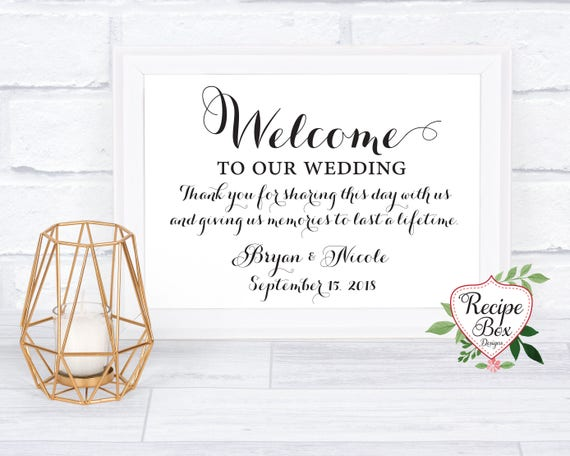Welcome Wedding Sign Reception Wedding Sign Elegant Welcome Etsy