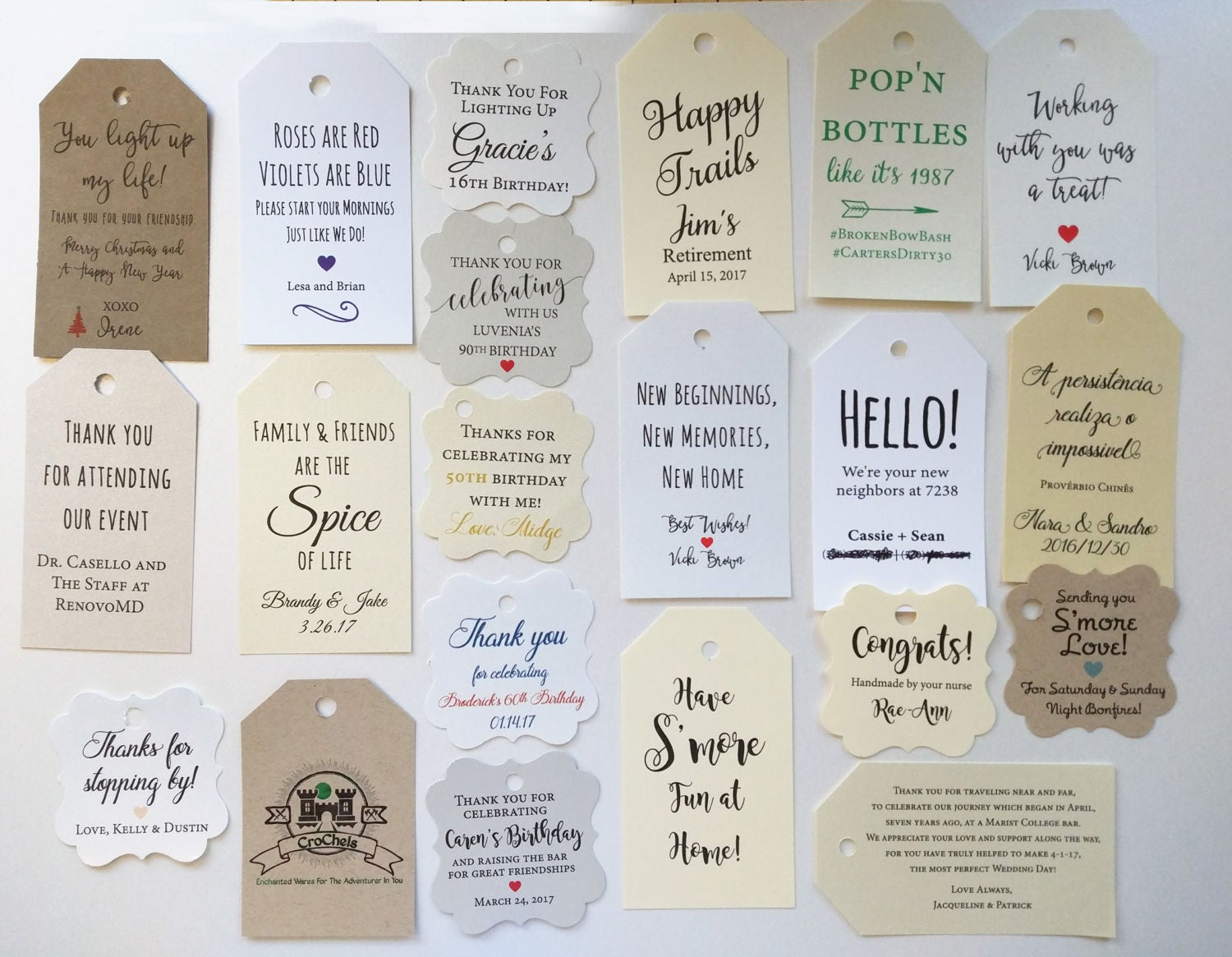 Custom Favor Tags Gift Wedding And Engagement Birthday Bridal Shower Baby Size 2 By 35