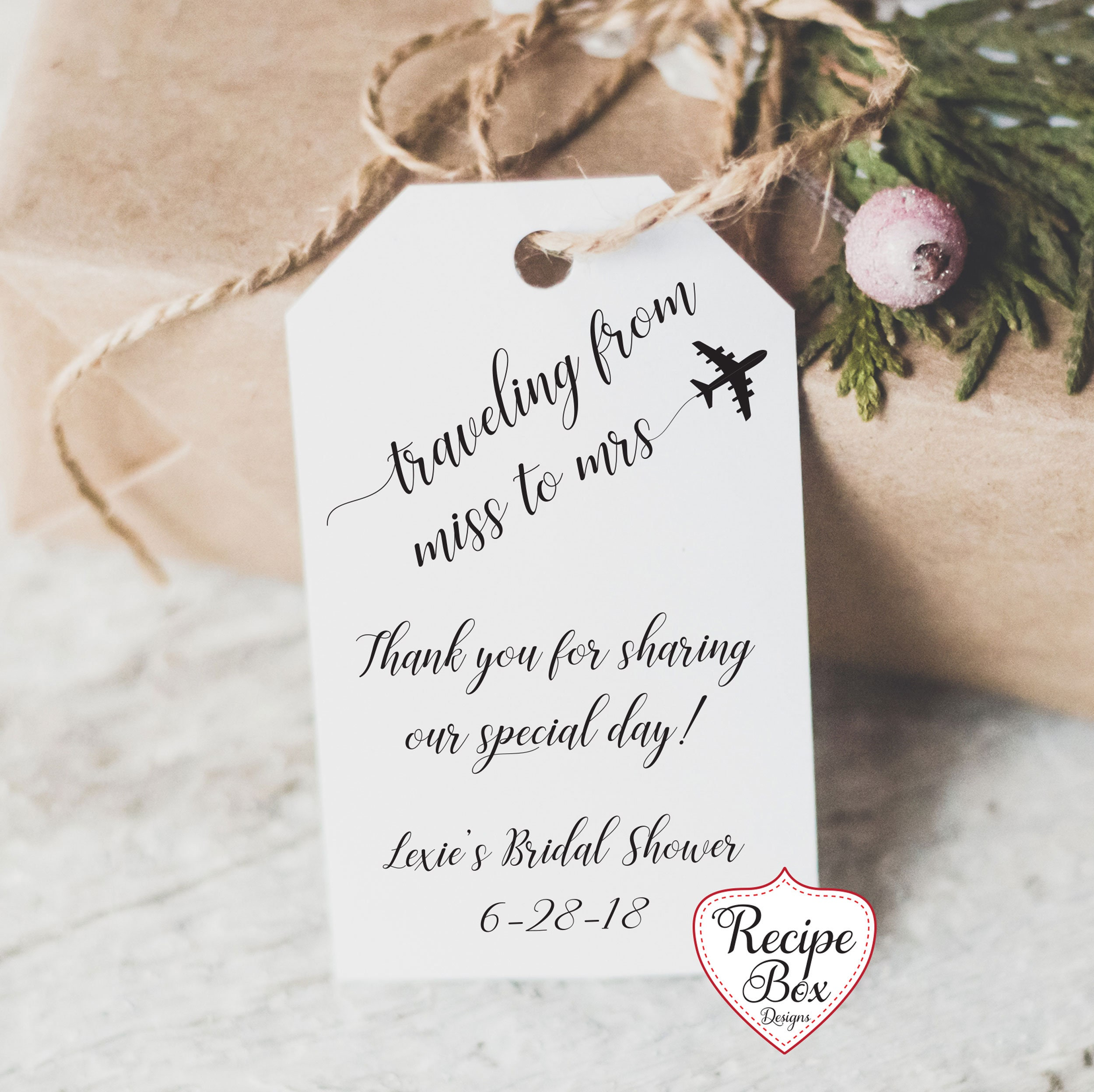Traveling from Miss To Mrs Bridal Shower Favor Tags Bath Bomb Salts ...