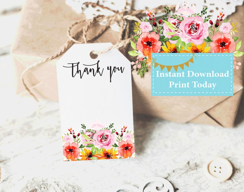 Favor Tags Printable Thank You Tag Template Bridal Shower Etsy