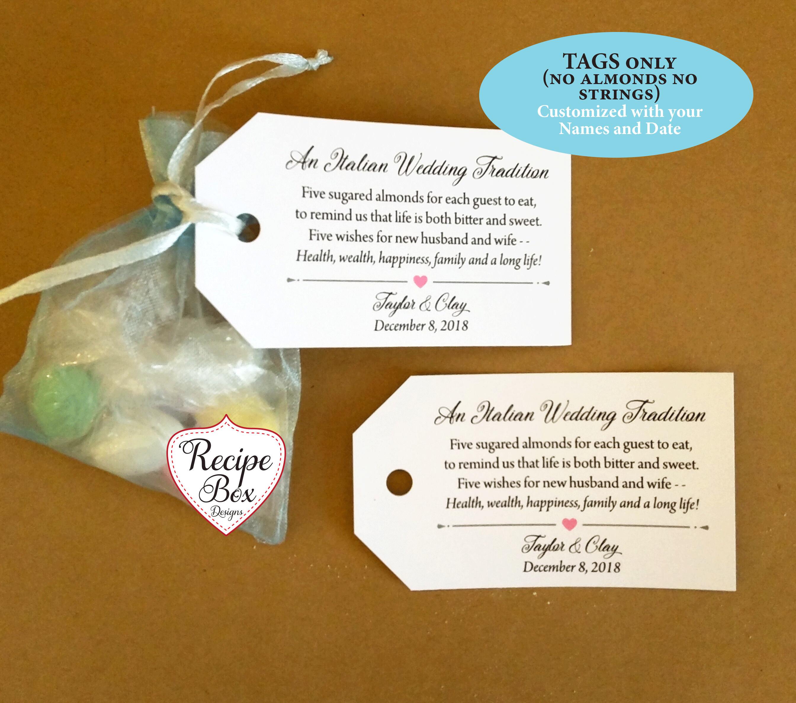 Sugared Almonds, Jordan Almond favor Tags, Personalized, Wedding ...