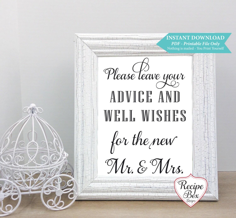 Wedding Advice Sign Printable