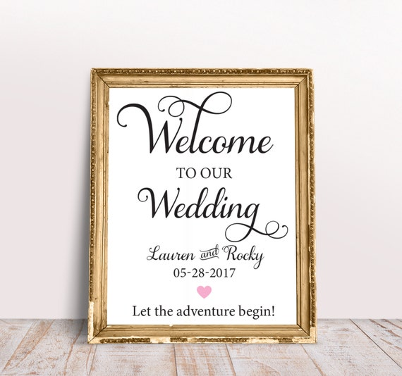 Welcome Wedding Sign Printable Instant Download Huge Welcome Etsy