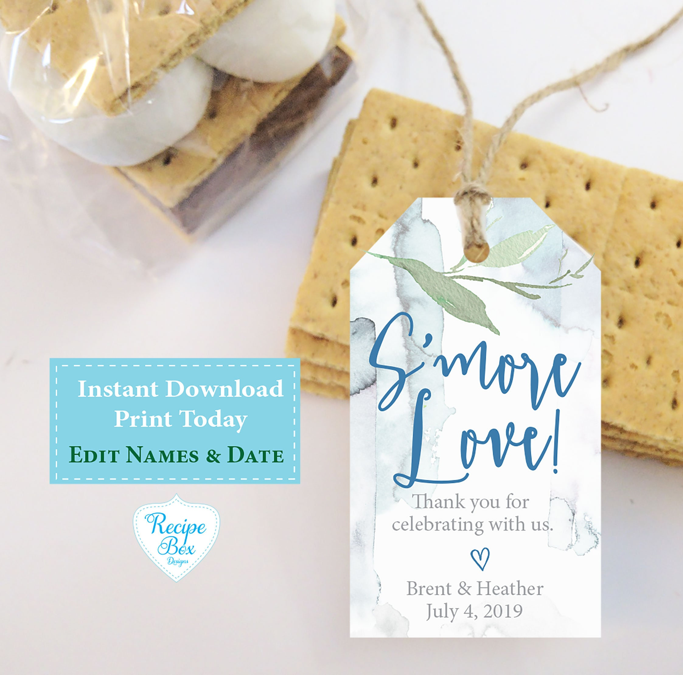 Smore Love Wedding Favor Template Printable, Instant Download Tags ...