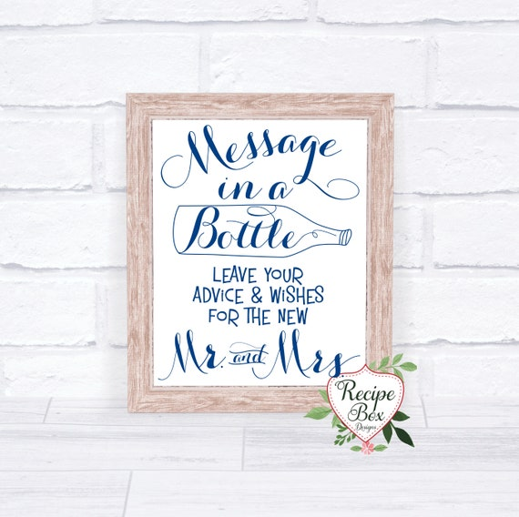 Wedding Signs Message In A Bottle Beach Wedding Signs leave   Etsy