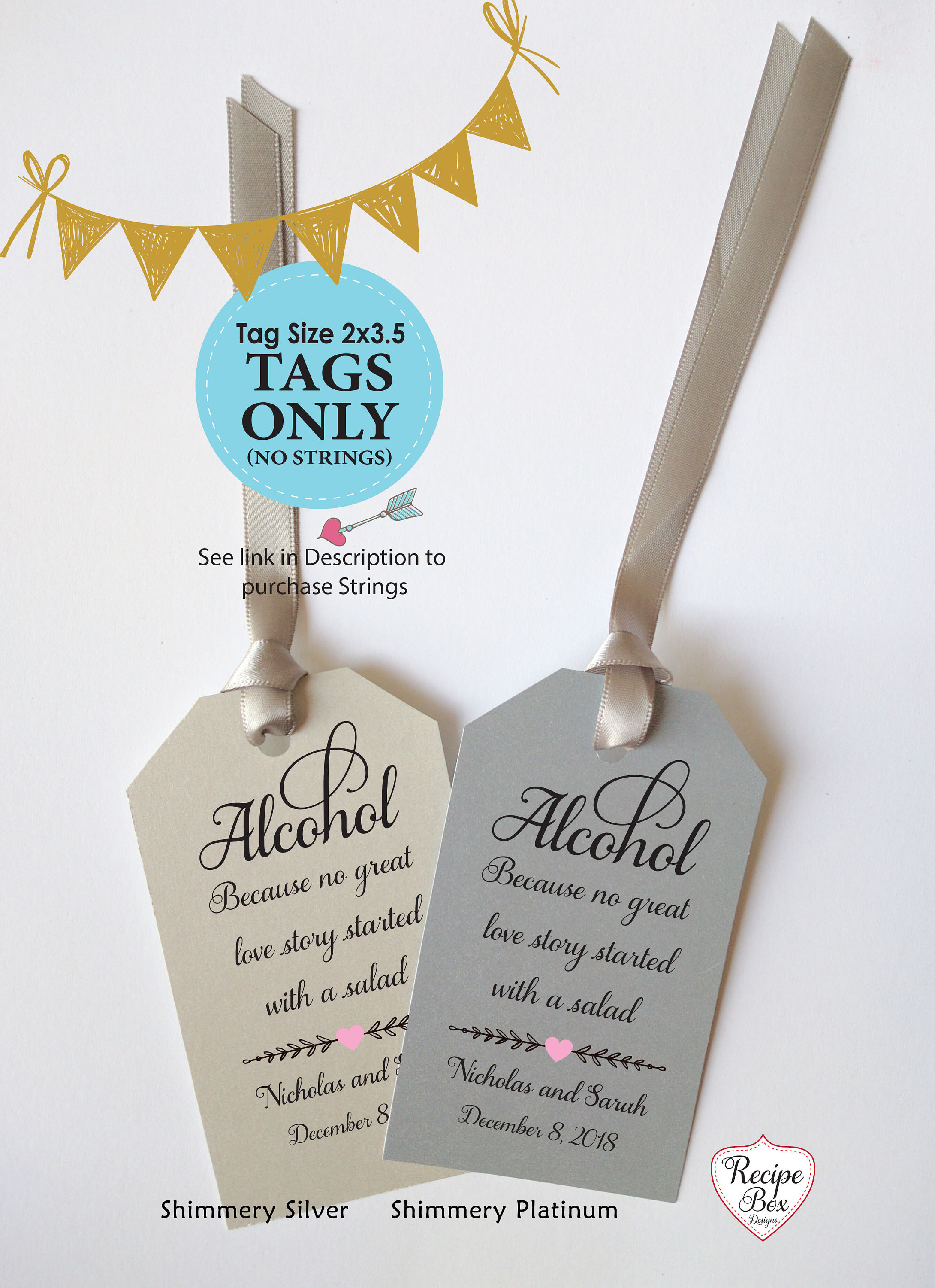 Alcohol because no love story Alcohol Favor Tags Champagne