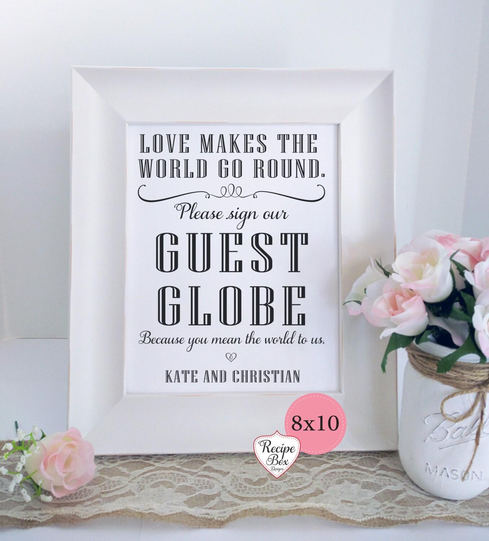 Wedding Guest Globe World Guest Book, Map Guestbook Custom Sign ...