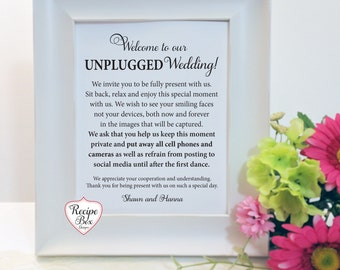 Unplugged Ceremony Sign, Unplugged Wedding, Unplugged Ceremony Unplugged No Cell Phones Sign Unplugged Wedding Unplugged Reception, No Frame