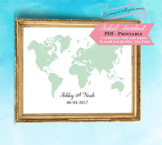 World map guest book template wedding sign printable sign gumiabroncs Images