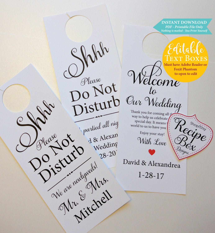 Printable Door Hangers Wedding Signs Do Not Disturb Hotel Welcome Tags 3 1 Price Instant Download PDF