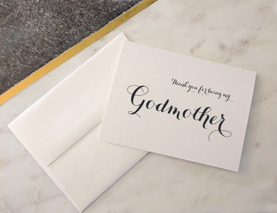 thank you Christening A5 Gift Godmother// Godfather//Godparent Card certificate
