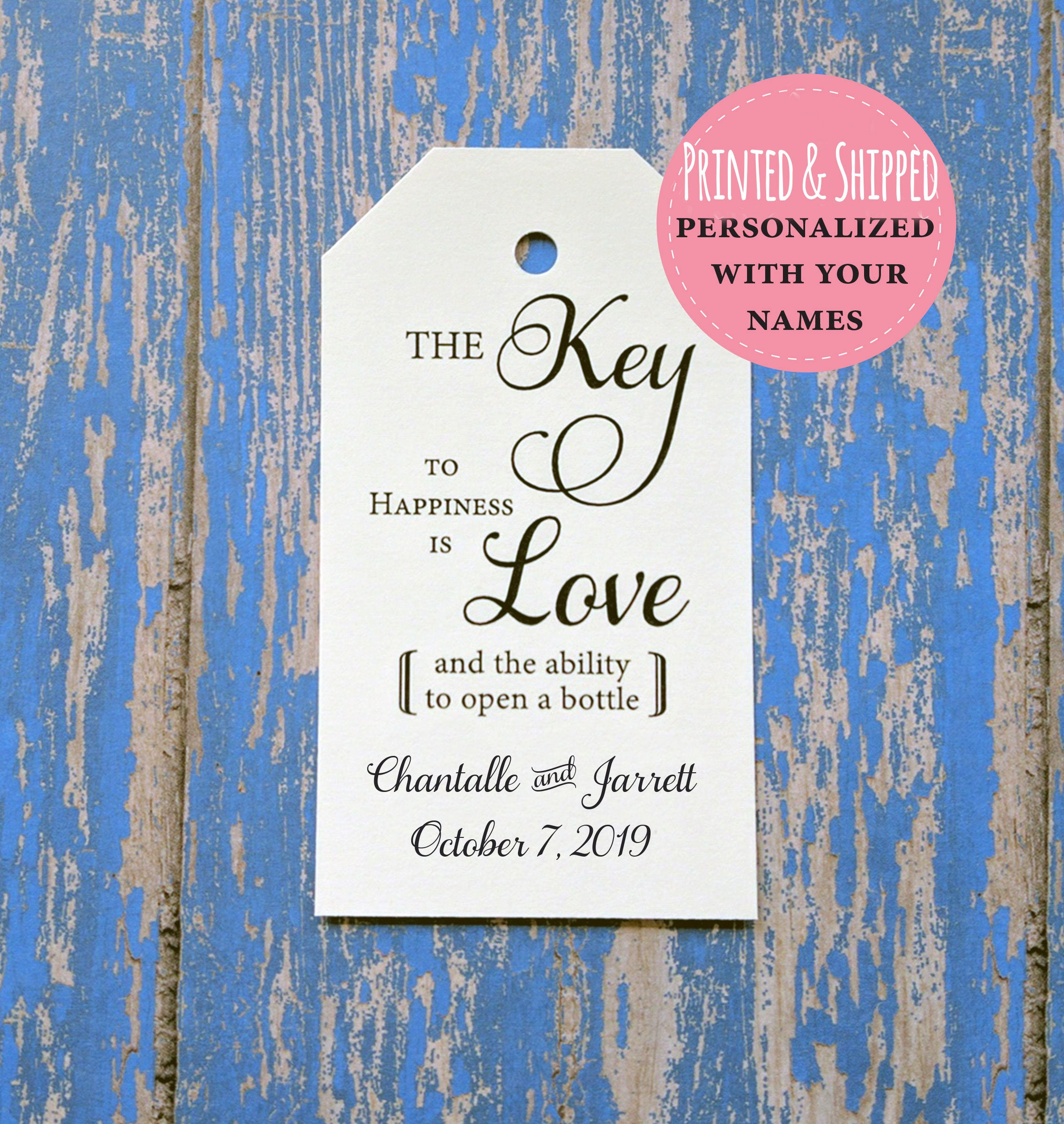 Wedding Favor Tags Key to Happiness Custom Favor Tags Key