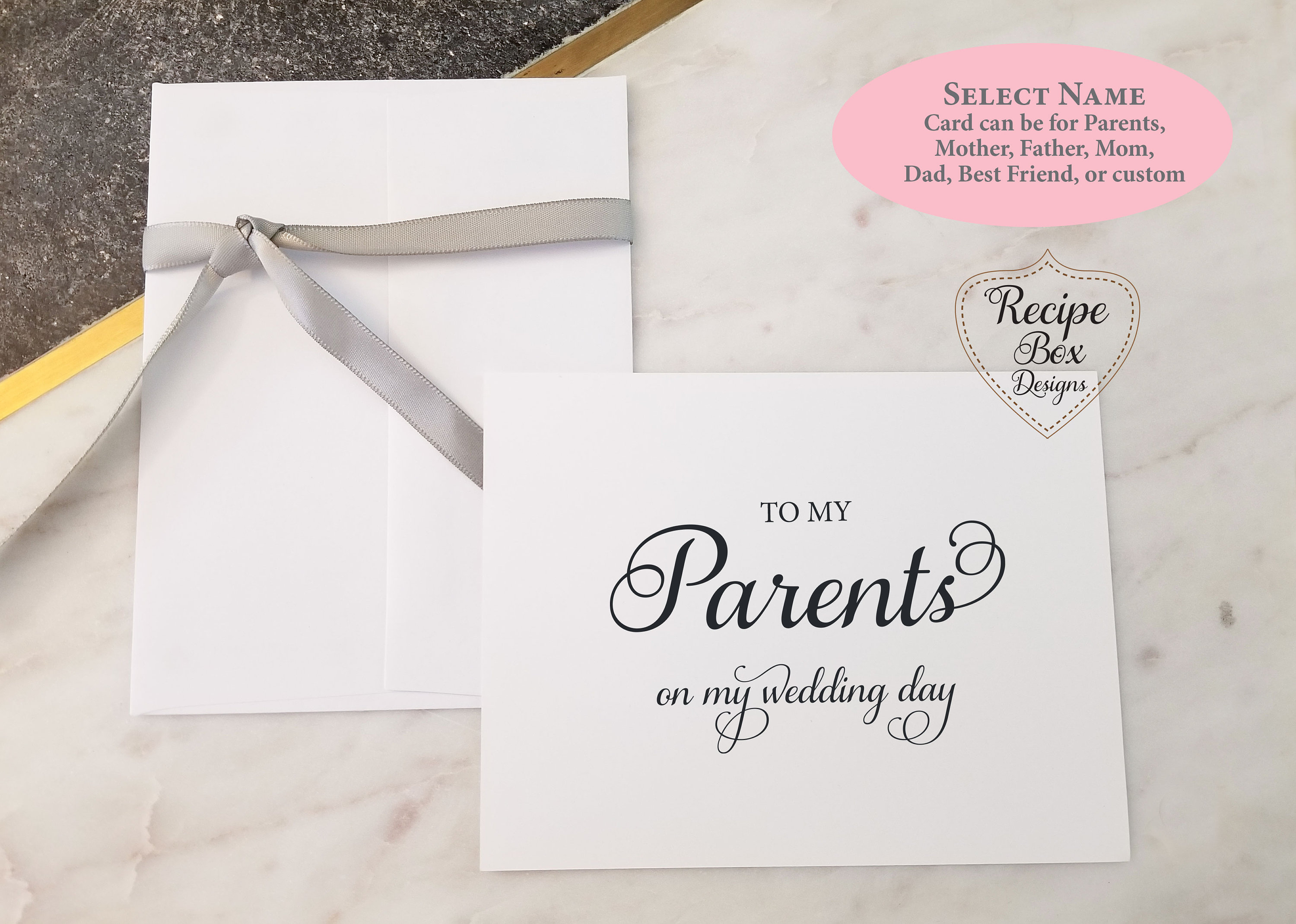 To My Father on My Wedding Day Card TO MY PARENTS on my Wedding Day Card To My Mother on My Wedding Day Card