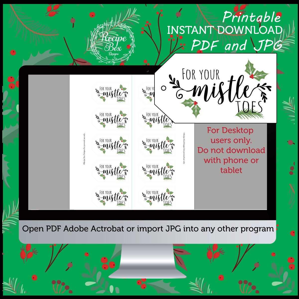 photograph about For Your Mistletoes Printable Tags titled Xmas Tags Printable, For your mistletoes printable nail