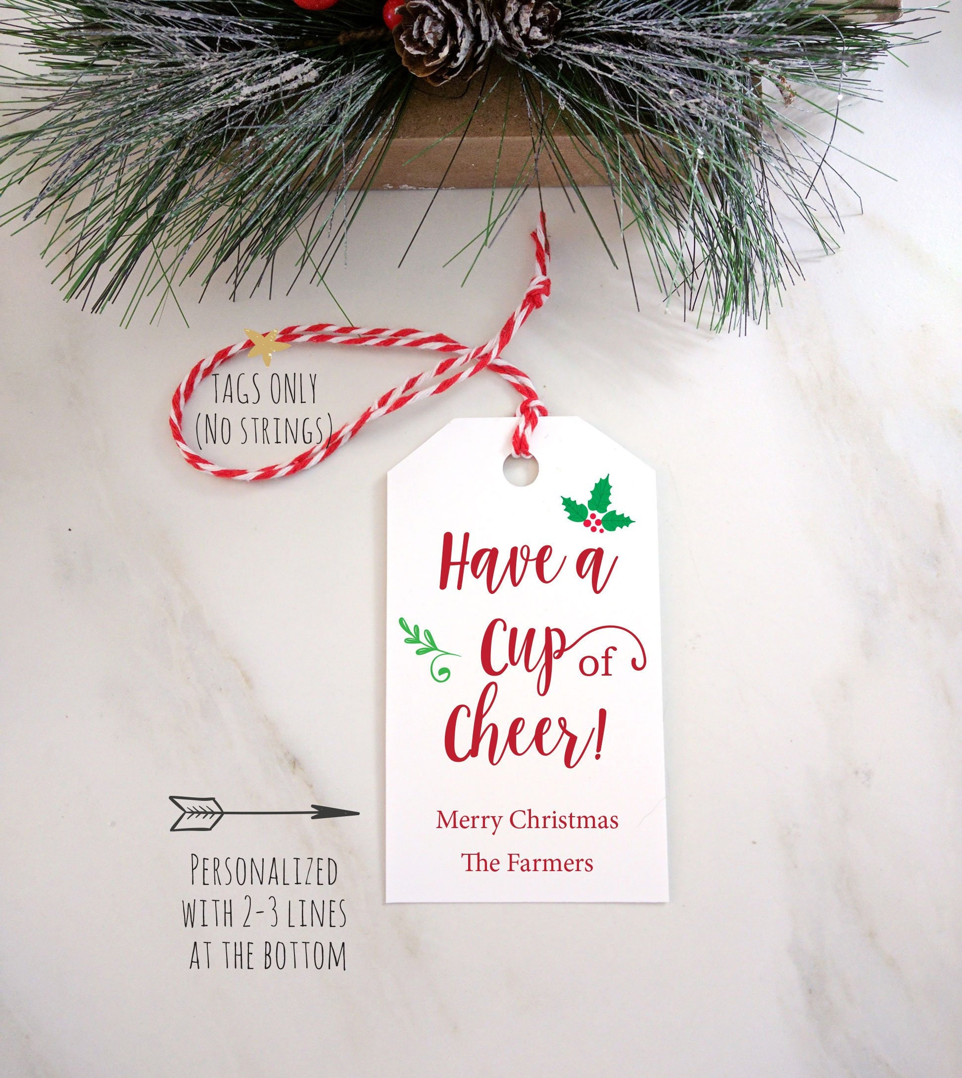 Coffee Mug Christmas Gift Tag, Personalized Custom Tags, Have A Cup ...