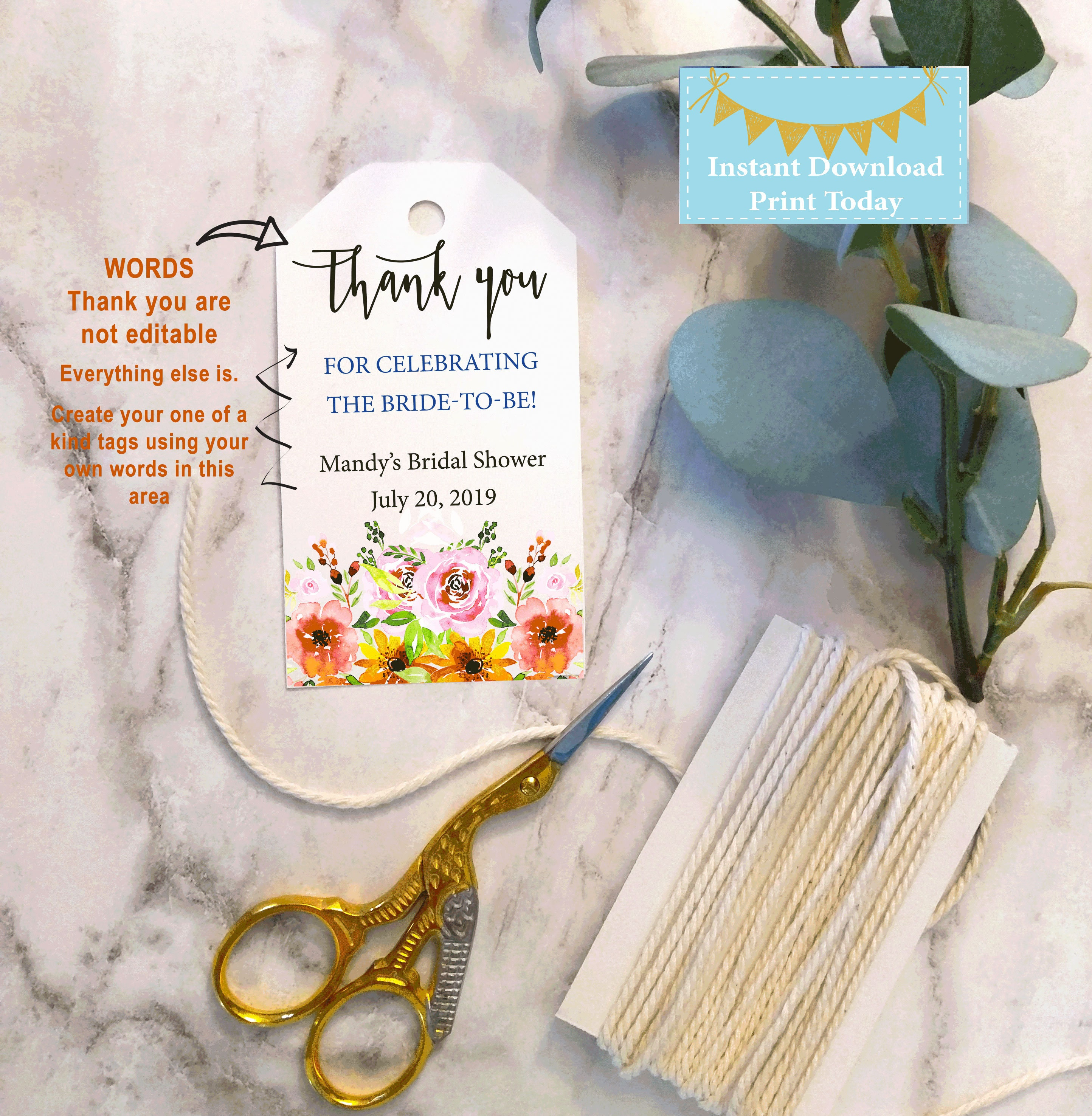 thank you printable tags bridal shower printable favor tag favor tags printable instant download template customizable shower tag 2x35