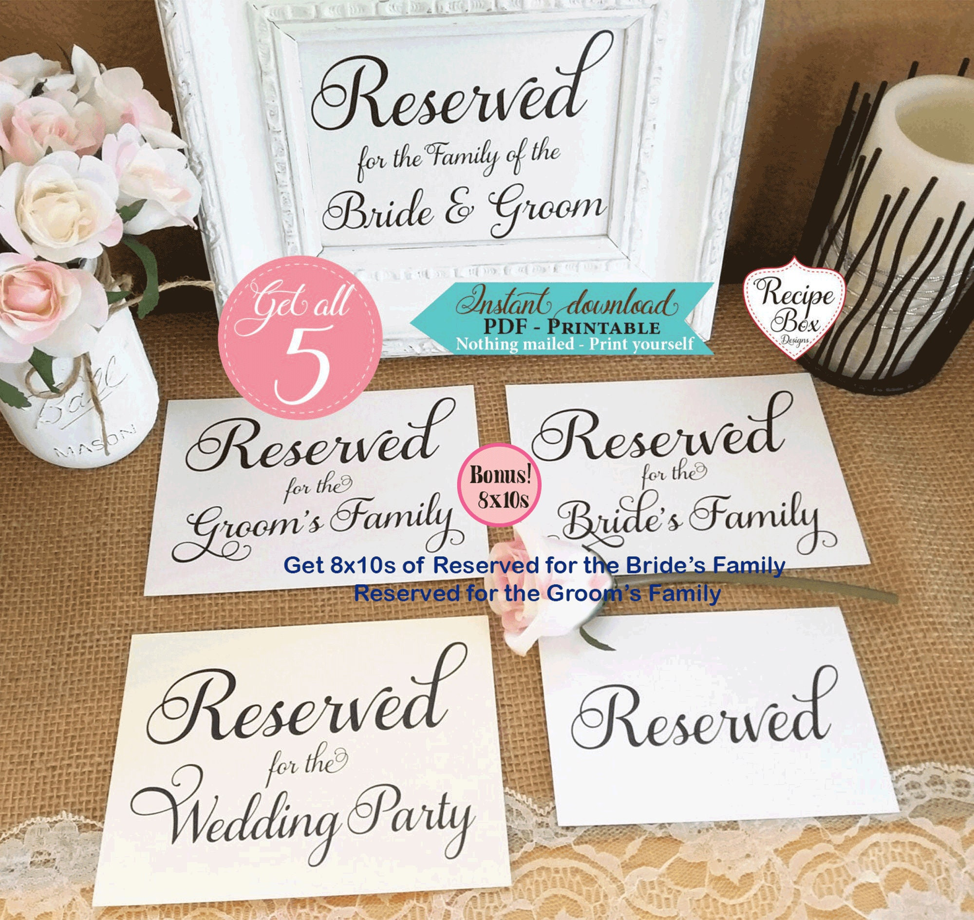 photograph about Printable Reserved Signs for Wedding named Printable Reserved Desk Indications Marriage ceremony Reserved Signs and symptoms