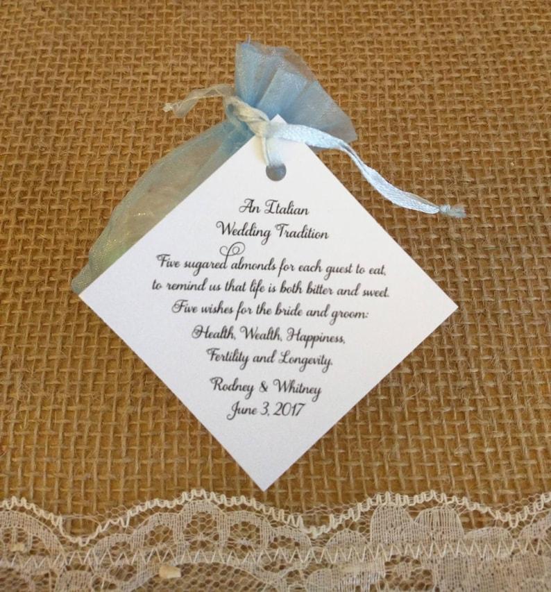 Italian Tradition Jordan Almond Tags For Wedding Jordan Etsy
