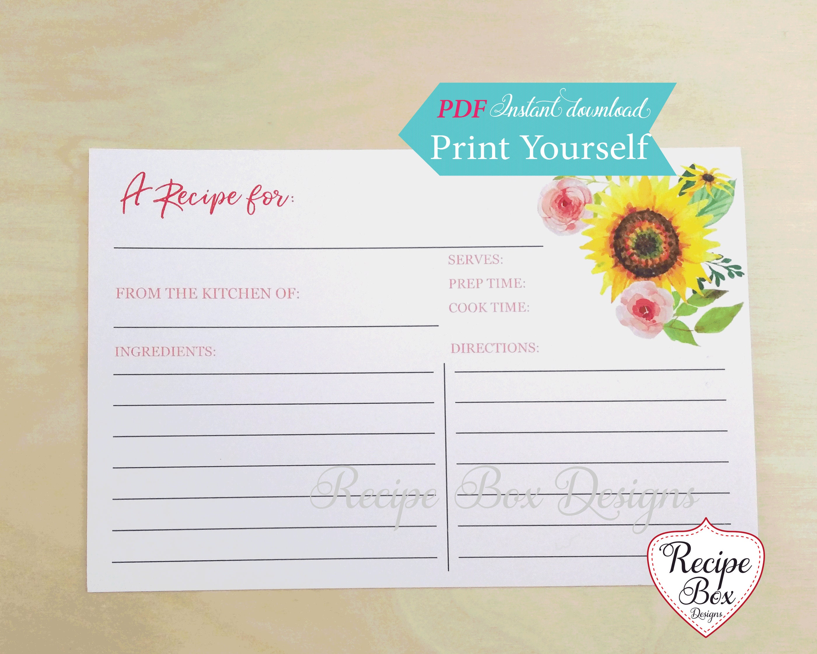 recipe for love sunflower recipe cards template printable tuscan theme bridal shower shower 4x6 recipe cards instant download diy