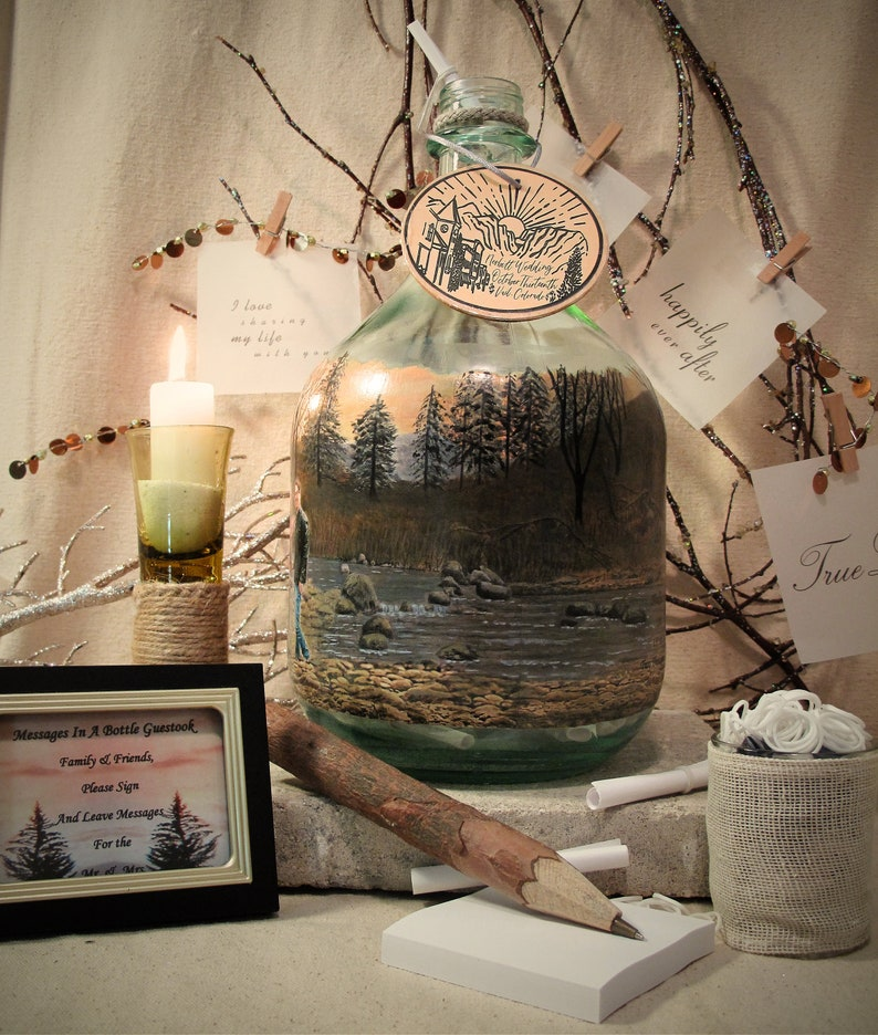 Wedding Gift The Proposal Messages In A Bottle Guestbook or Well Wishes Bottle With Your Photo and Hand Painted Embellishments Shower