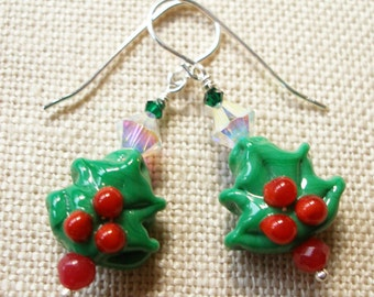 Christmas Tree Earrings Holly Leaf Red and Green Winter Holiday