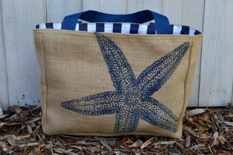 Handmade Star Fish Burlap Market Tote Bag CC