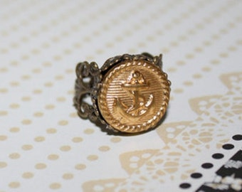 Vintage Anchor Navy Military Uniform Button Ring with Adjustable Antique Brass Filigree Band